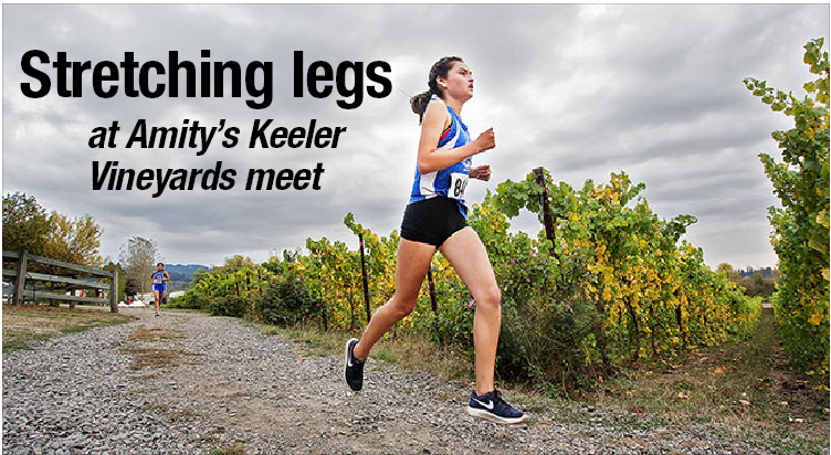 Rockne Roll/News-Register##Amity's Karina Meza strides through the Keeler Estate Vineyard.