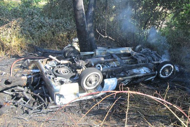 Photo courtesy Oregon State Police##Two Willamina residents were rescued from their burning vehicle. They sustained minor injuries.